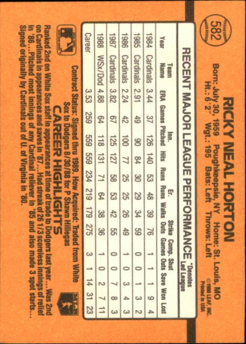 1989 Donruss #582 Ricky Horton DP back image