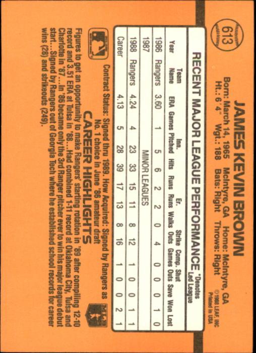 1989 Donruss #613 Kevin Brown DP back image