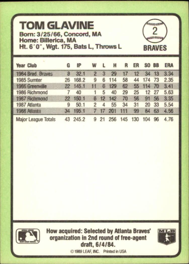 1989 Donruss Baseball's Best #2 Tom Glavine back image