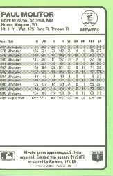 1989 Donruss Baseball's Best #15 Paul Molitor back image