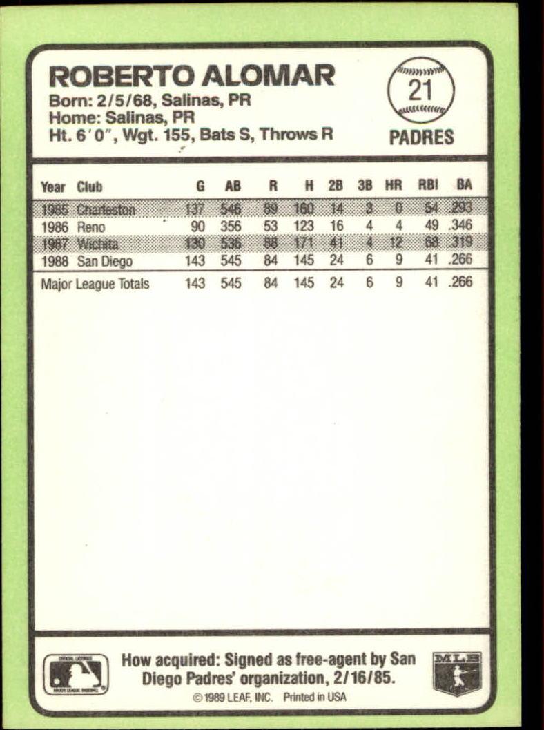 1989 Donruss Baseball's Best #21 Roberto Alomar back image