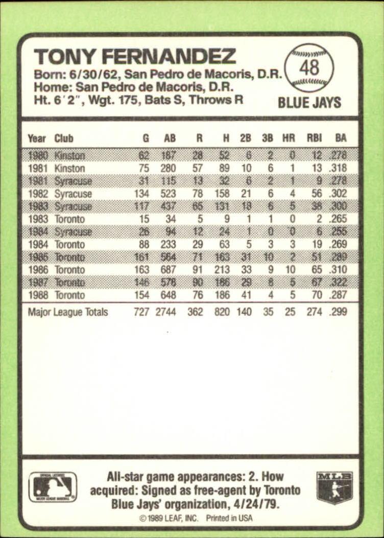 1989 Donruss Baseball's Best #48 Tony Fernandez back image