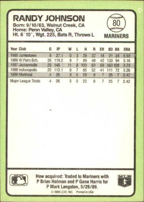 1989 Donruss Baseball's Best #80 Randy Johnson back image