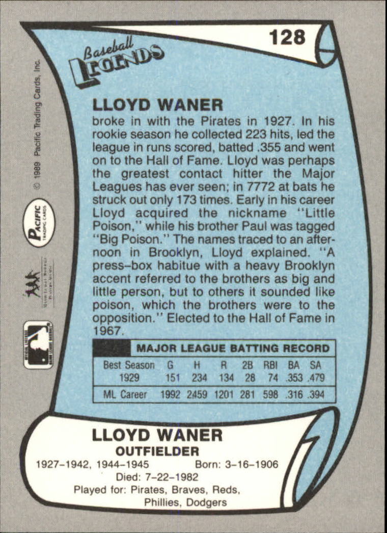 1989 Pacific Legends II #128 Lloyd Waner back image