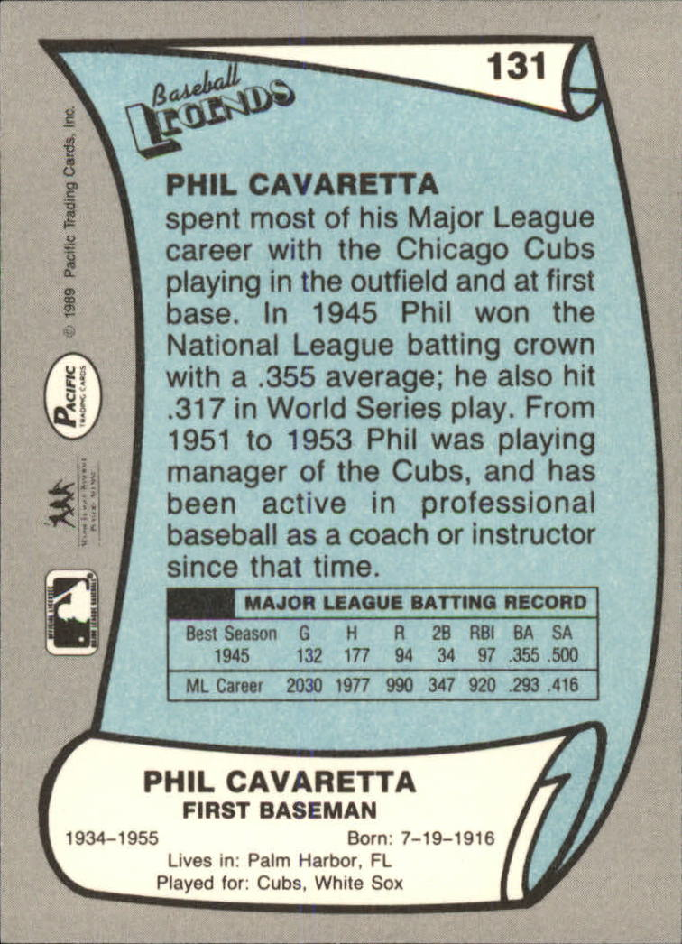 1989 Pacific Legends II #131 Phil Cavarretta back image