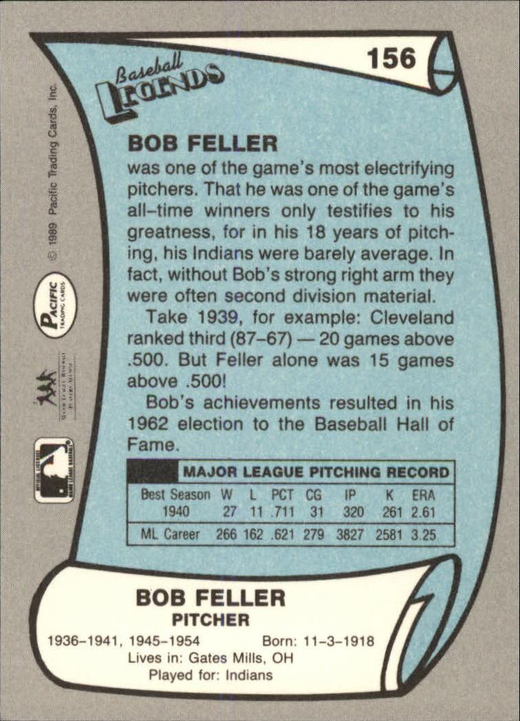 1989 Pacific Legends II #156 Bob Feller back image