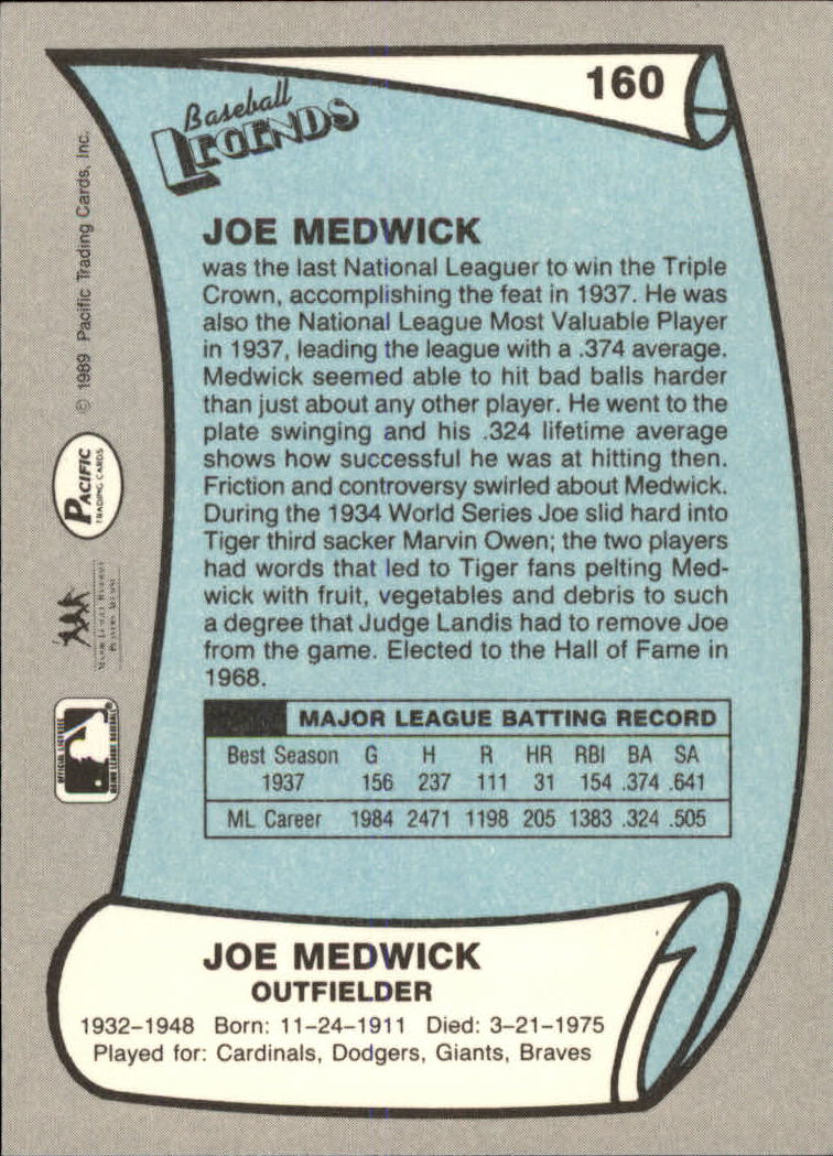 1989 Pacific Legends II #160 Joe Medwick back image