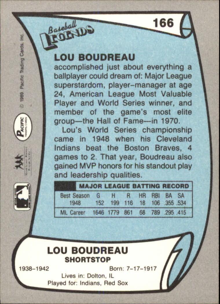 1989 Pacific Legends II #166 Lou Boudreau back image