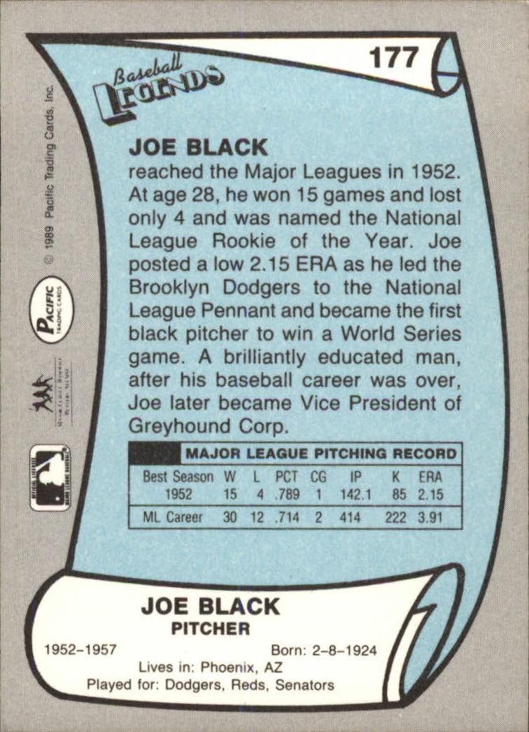 1989 Pacific Legends II #177 Joe Black back image