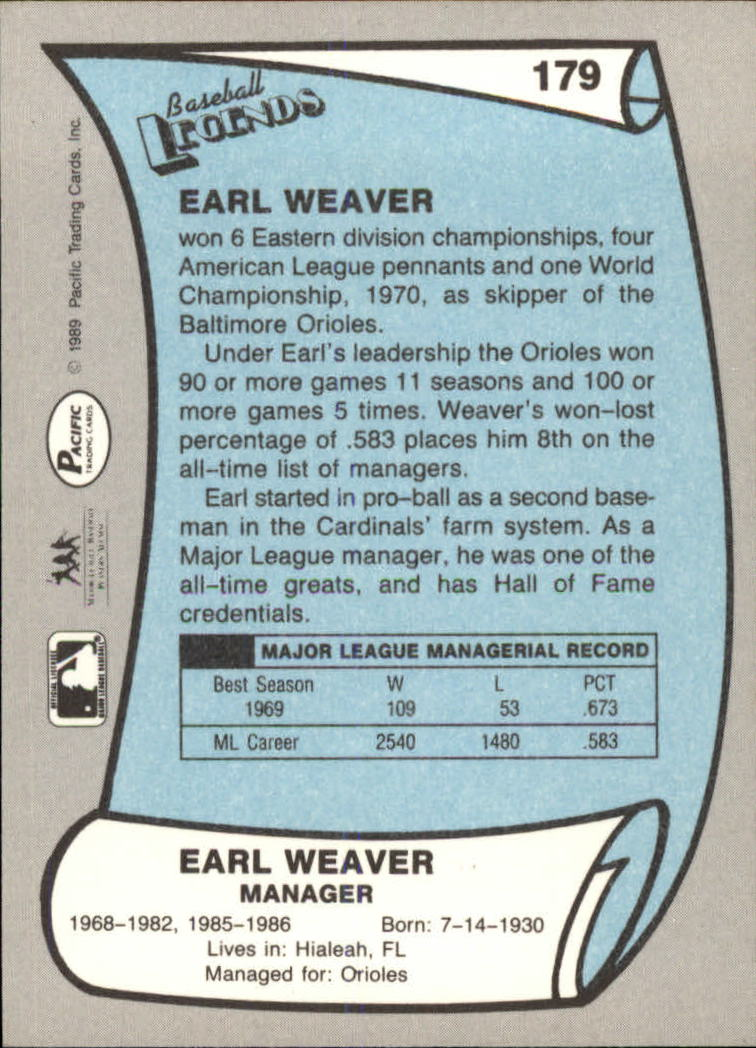 1989 Pacific Legends II #179 Earl Weaver MG back image