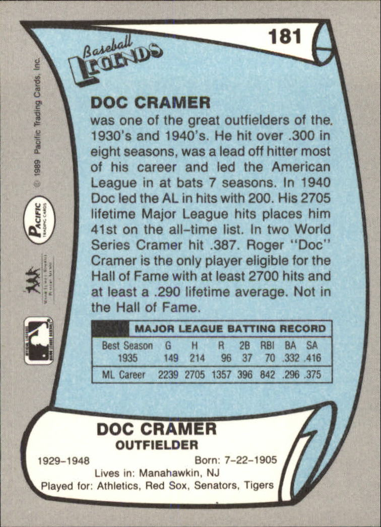 1989 Pacific Legends II #181 Roger Cramer back image