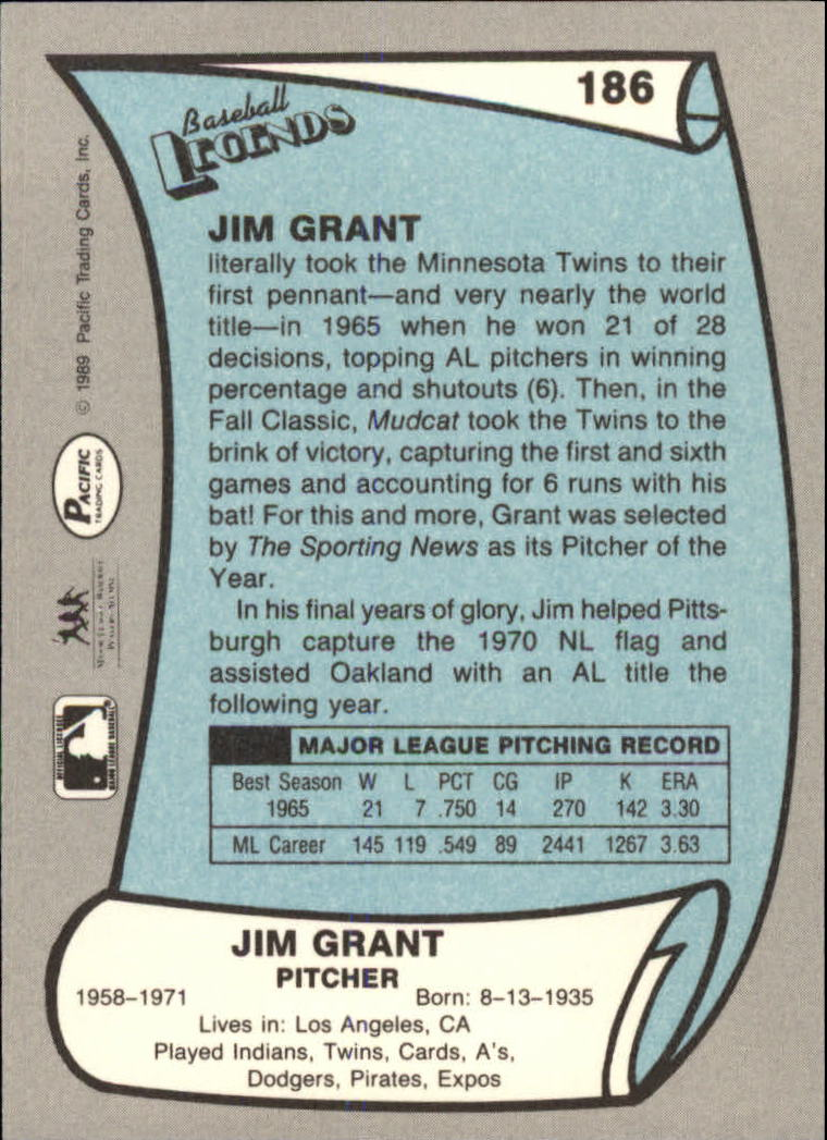 1989 Pacific Legends II #186 Jim Grant back image