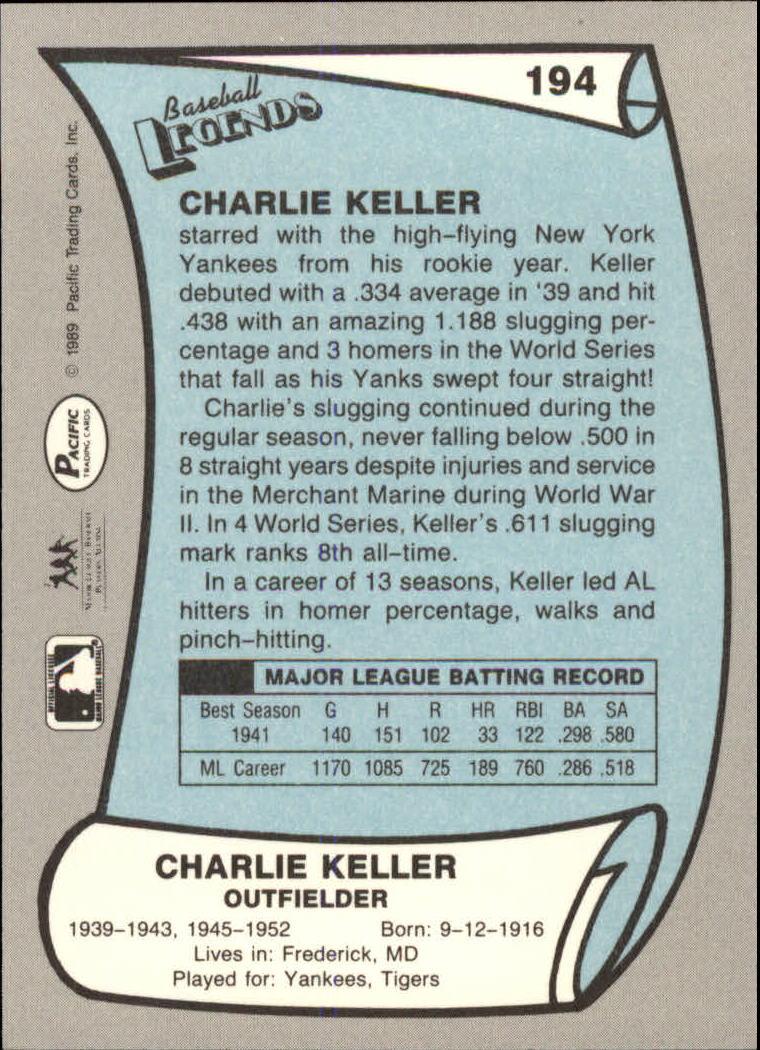 1989 Pacific Legends II #194 Charlie Keller back image