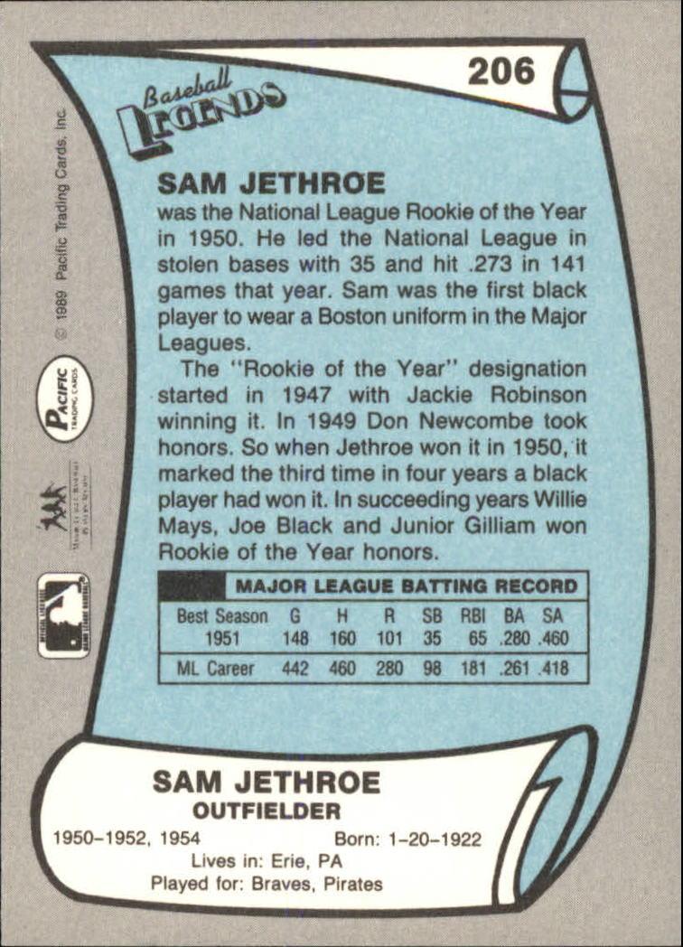 1989 Pacific Legends II #206 Sam Jethroe back image