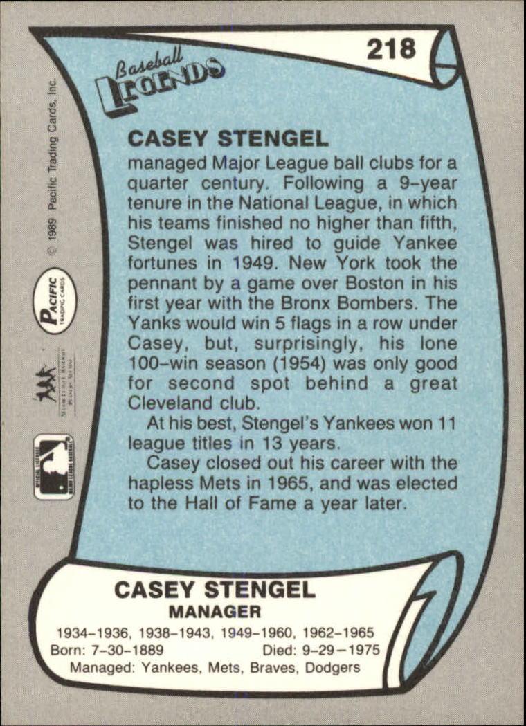 1989 Pacific Legends II #218 Casey Stengel back image