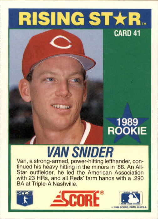 1989 Score Hottest 100 Rookies #41 Van Snider back image