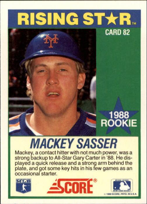 1989 Score Hottest 100 Rookies #82 Mackey Sasser back image