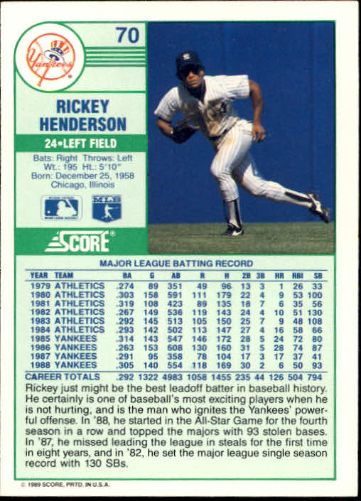 1989 Score #70 Rickey Henderson back image