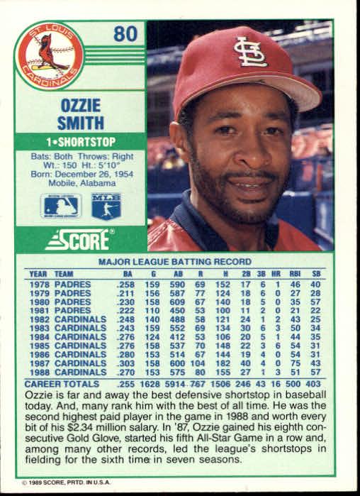 1989 Score #80 Ozzie Smith back image