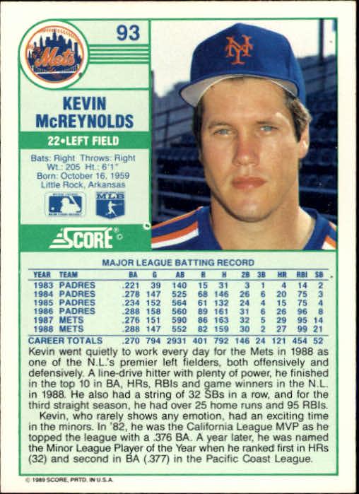 1989 Score #93 Kevin McReynolds back image