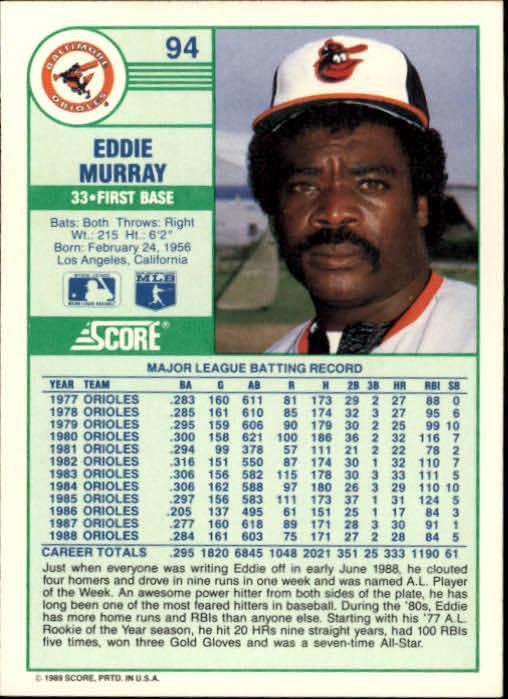 1989 Score #94 Eddie Murray UER/'86 batting .205,/should be .305 back image