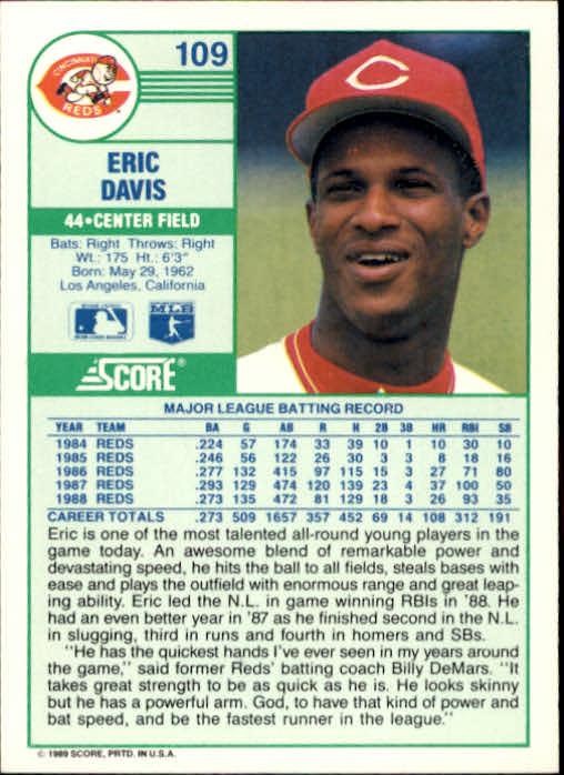 1989 Score #109 Eric Davis back image
