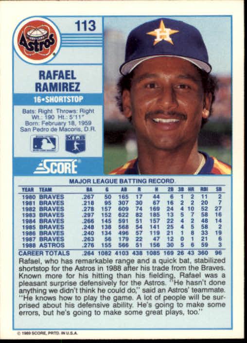 1989 Score #113 Rafael Ramirez back image