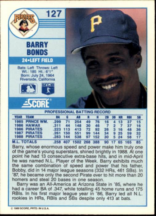 1989 Score #127 Barry Bonds back image