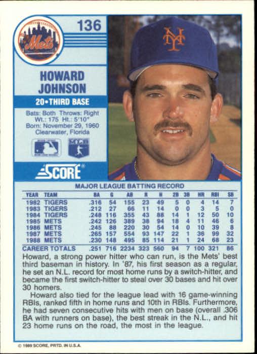 1989 Score #136 Howard Johnson back image
