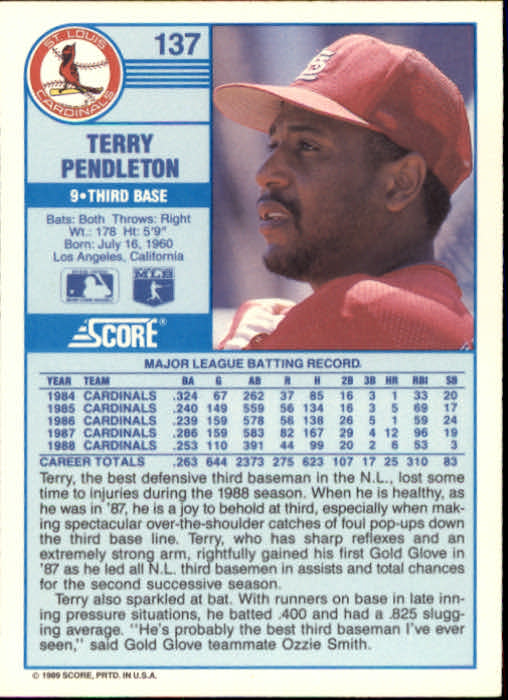 1989 Score #137 Terry Pendleton back image