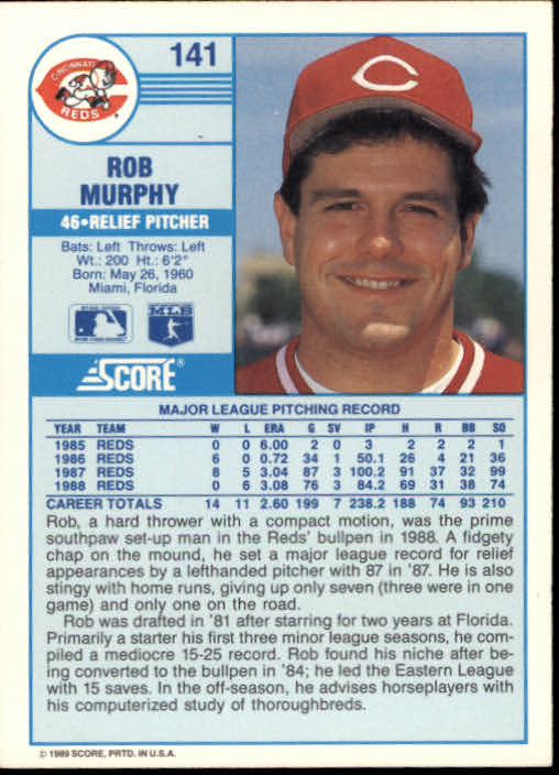 1989 Score #141 Rob Murphy back image