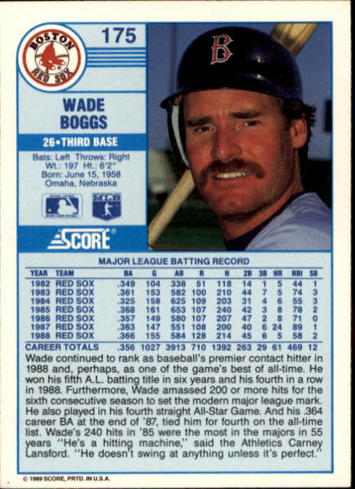 1989 Score #175 Wade Boggs UER/Bio says .364,/should be .356 back image