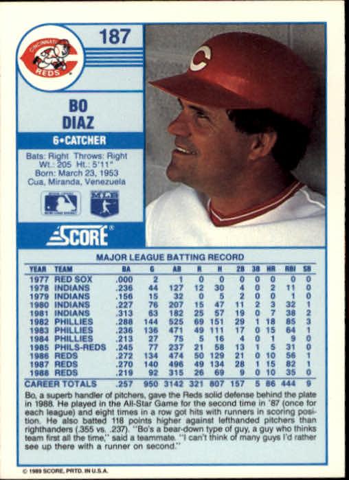 1989 Score #187 Bo Diaz back image