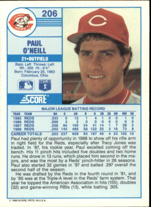 1989 Score #206 Paul O'Neill back image