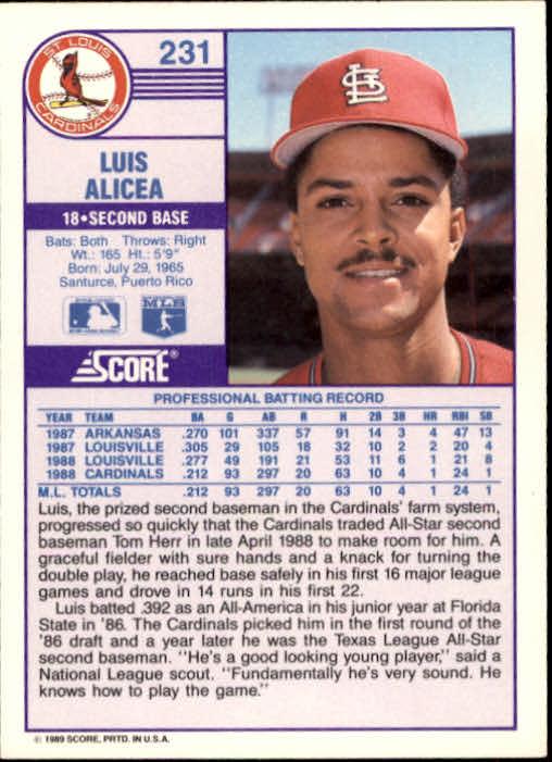1989 Score #231 Luis Alicea RC back image
