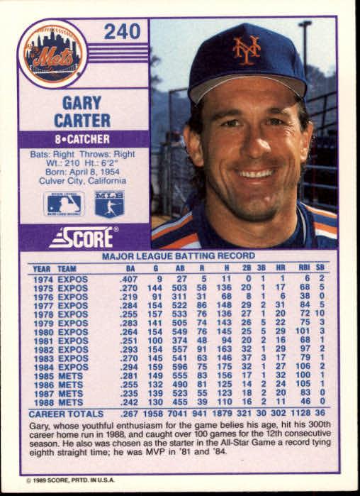 1989 Score #240 Gary Carter back image