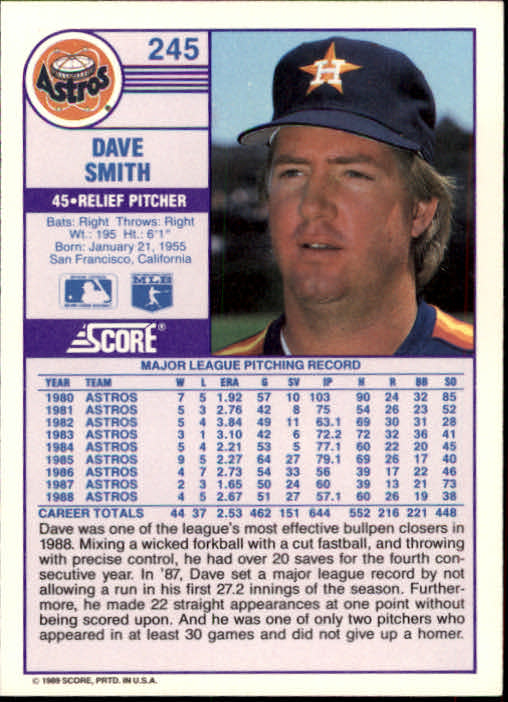 1989 Score #245 Dave Smith back image