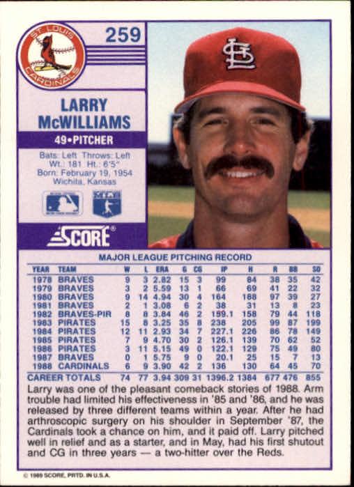 1989 Score #259 Larry McWilliams back image