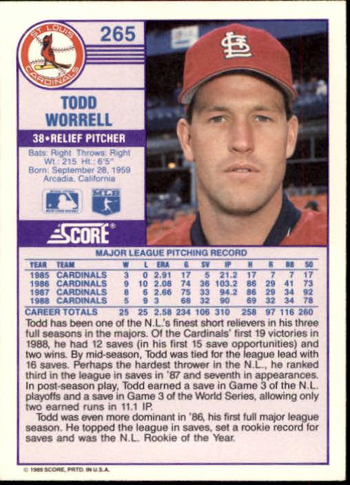1989 Score #265 Todd Worrell back image