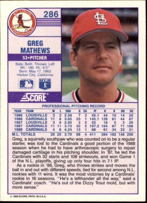 1989 Score #286 Greg Mathews back image