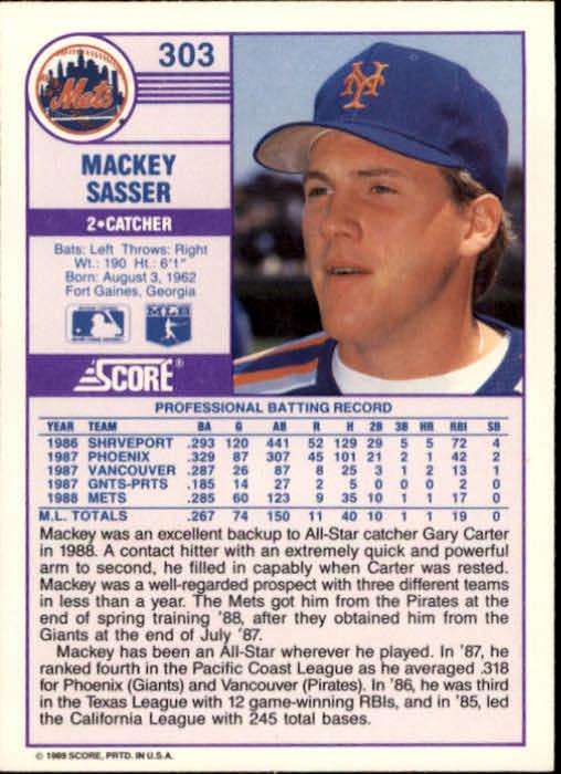1989 Score #303 Mackey Sasser back image