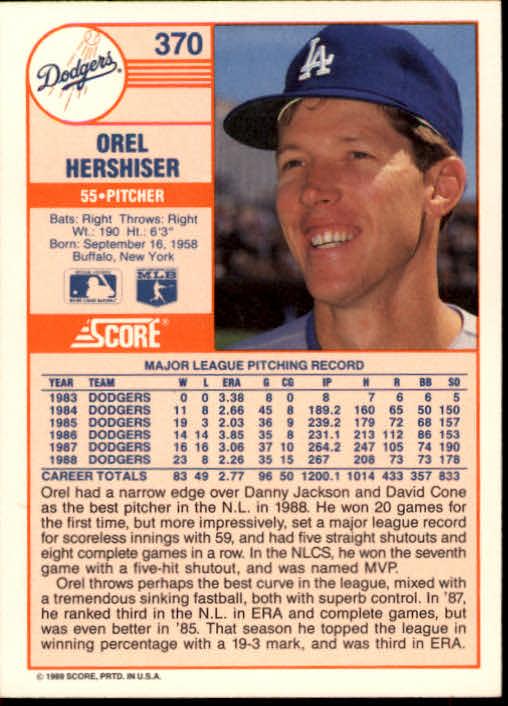 1989 Score #370 Orel Hershiser back image