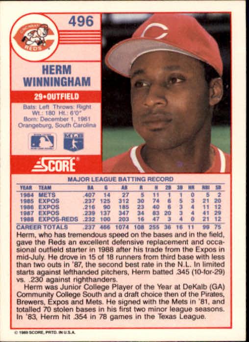 1989 Score #496 Herm Winningham back image