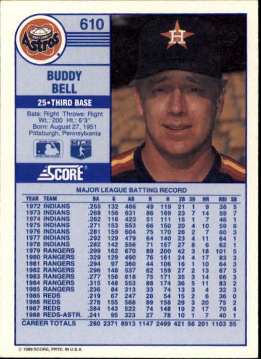 1989 Score #610 Buddy Bell back image