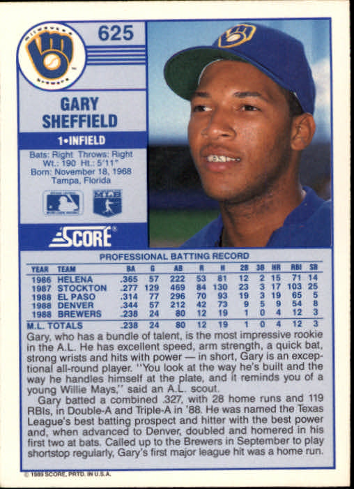 1989 Score 625 Gary Sheffield Rc Nm Mt
