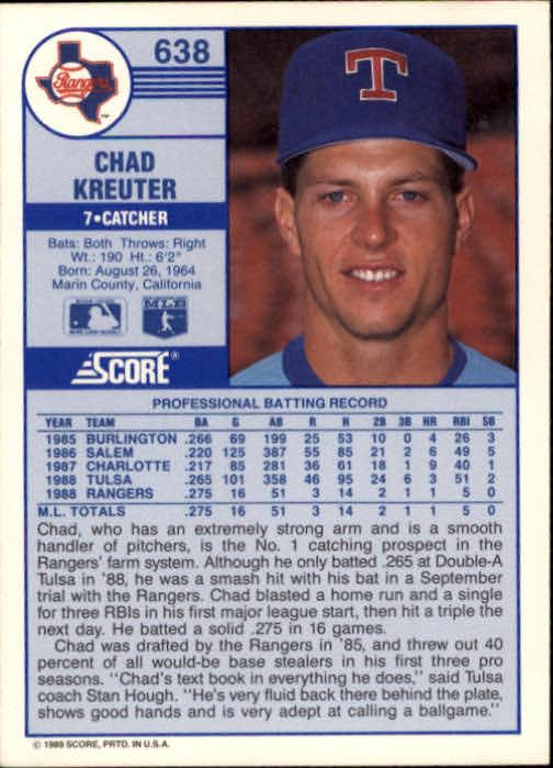 1989 Score #638 Chad Kreuter RC back image