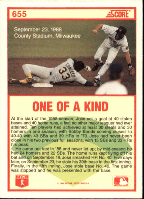 1989 Score #655 Jose Canseco HL back image