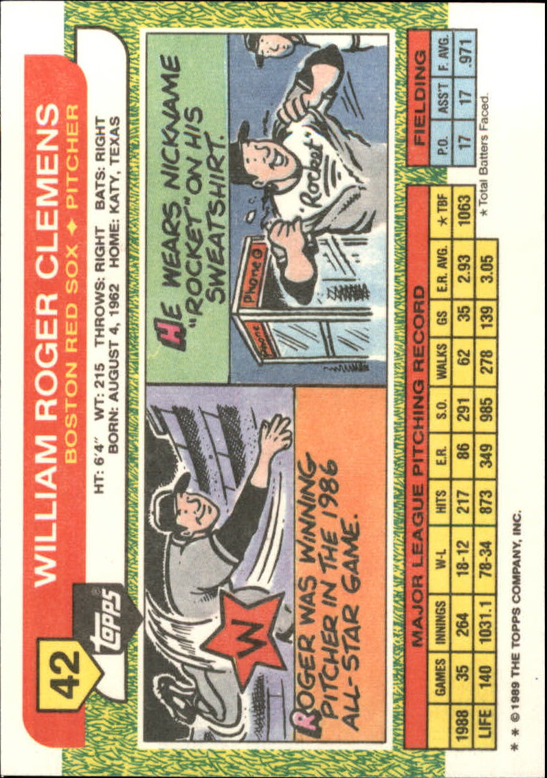 1989 Topps Big #42 Roger Clemens back image