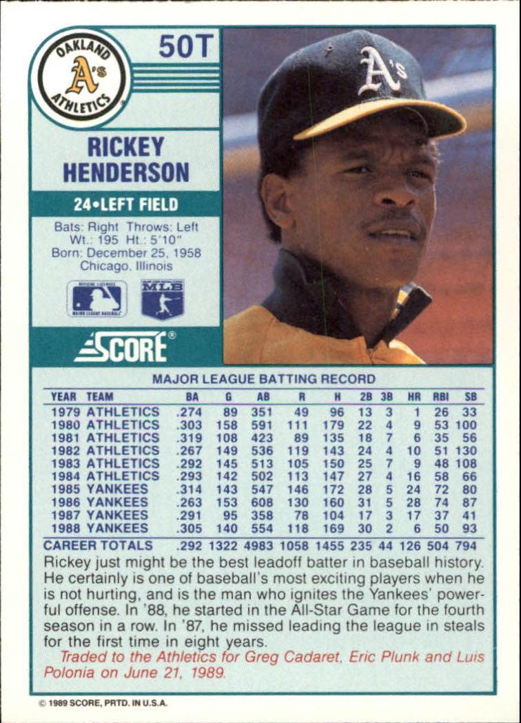 1989 Score Rookie/Traded #50T Rickey Henderson back image