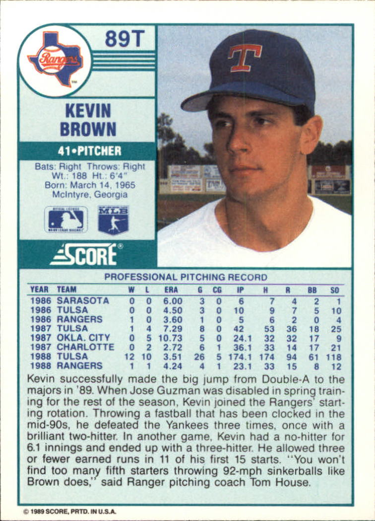 1989 Score Rookie/Traded #89T Kevin Brown back image